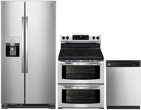4-Piece Stainless Steel Kitchen Package with 51113 Side-by-Side Refrigerator  97613 Freestanding Double Oven Electric Range  80323 Over-the-Range