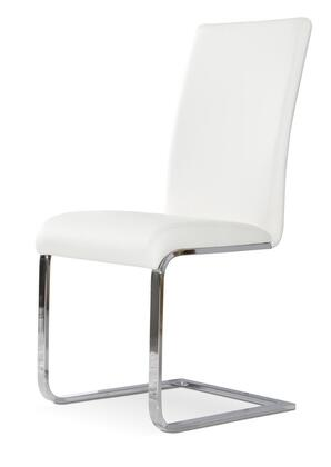 Modrest Crane Collection VGGUYA801-WHT Set of 2 Dining Chairs with L-Shaped Base  Chrome Plated Metal Frame and Leatherette Upholstery in