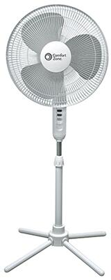CZST161BTE 16-inch Oscillating Pedestal Fan with 3 Speed Push Button Control  Adjustable Height  75-degree Oscillation: