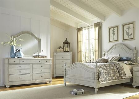 Harbor View III Collection 731-BR-QPSDMC 4-Piece Bedroom Set with Queen Poster Bed  Dresser  Mirror and Chest in Dove Gray