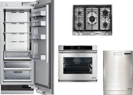 4-Piece Stainless Steel Kitchen Package with DRR24980RAP 24 inch  All Refrigerator  RNCT305GSLP 30 inch  Liquid Propane Cooktop  RNWO127ES Single Wall Oven  and DDW24S