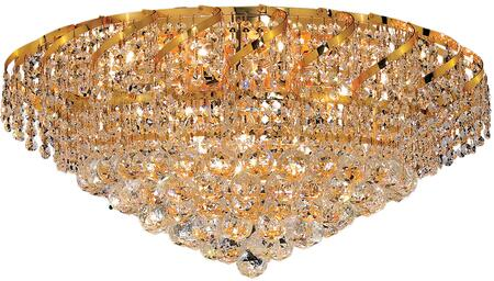 VECA1F26G/EC Belenus Collection Flush Mount D:26In H:13In Lt:10 Gold Finish (Elegant Cut