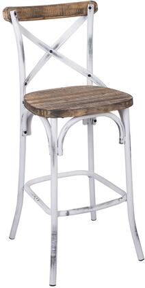 Zaire 96642 29 inch  Bar Chair with Chinese Fir Wood Seat   inch X inch  Back Design and Antique Steel Spray Painting Legs in Walnut and Antique