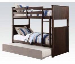 Hector Collection 38025 Twin Over Twin Bunk Bed with Slats System Included  Easy Access Guard Rails and Vertical Ladder in Antique Charcoal Brown