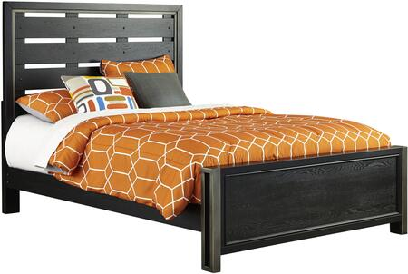 Graphite Collection 8942-BR-K2 Full Size Panel Bed with Clean Line Design  Metal Framing Accent  Low Profile Footboard and Wood Construction in