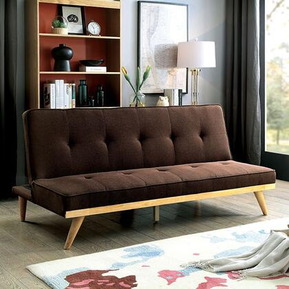 "Lyra Collection CM2441BR 70"" Futon Sofa with Mid-Century Tapering Legs  Linen-like Fabric and Tufted Cushion in"