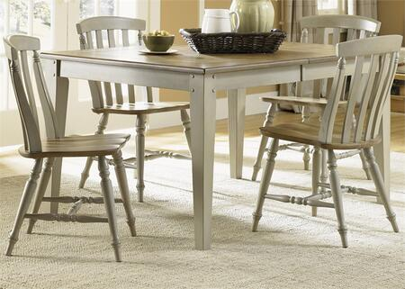 Al Fresco Collection 541-CD-5RLS 5-Piece Dining Room Set with Rectangular Dining Table and 4 Slat Back Side Chairs in Driftwood & Taupe