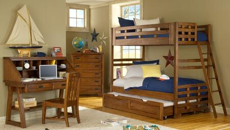 Heartland 1800-33BNK-TRN-DKCHCS 4-Piece Bedroom Sets with Twin Bunk Bed with Ladder and Trundle Included  Desk with Hutch  Chair  and Chest of Drawers in Spice