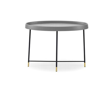 ST1437GRY Ariana Side Table  Gray Oak Veneer  Black Metal Frame And Brass Color