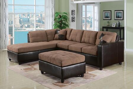 Milano Collection 51330 Reversible Sectional with Chaise  3 Seater Sofa  2 Pillows  Pocket Coil Seating  Fabric and Espresso Bycast PU Leather Upholstery in