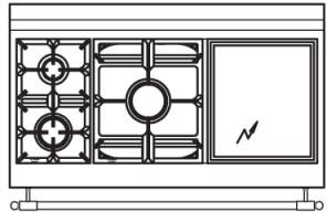 120 US EF Cooktop Configuration with 2 Burners  Power Burner and Electric