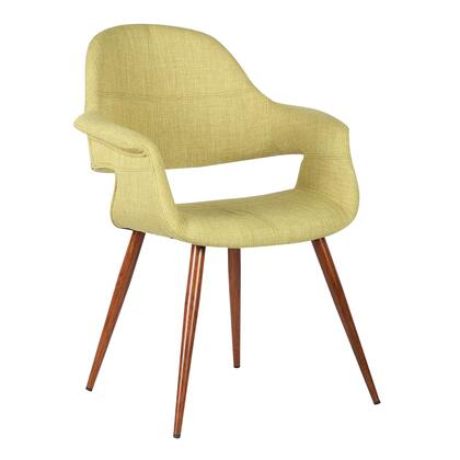 Phoebe Collection LCPHSIWAGREEN Dining Chair with Mid-Century Modern Style  Padded Armrests  Walnut Veneer Tapered Legs and Polyester Fabric Upholstery in