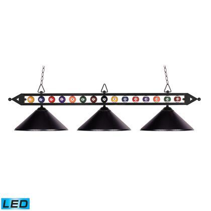 190-1-BK-M-LED Designer Classics 3-Light Billiard/Island in Matte Black with Metal Shades -