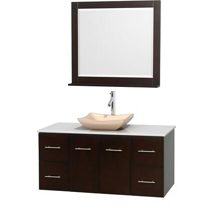 WCVW00948SESWSGS2M36 48 in. Single Bathroom Vanity in Espresso  White Man-Made Stone Countertop  Avalon Ivory Marble Sink  and 36 in.