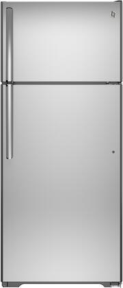 GAS18PSJSS 28 GE Series Freestanding Top Freezer Refrigerator With 17.5 cu. ft. Capacity  Adjustable Glass Shelves  Gallon Door Storage  And Easily