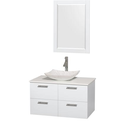 WCR410036SGWWSGS6M24 36 in. Single Bathroom Vanity in Glossy White  White Man-Made Stone Countertop  Arista White Carrera Marble Sink  and 24 in.