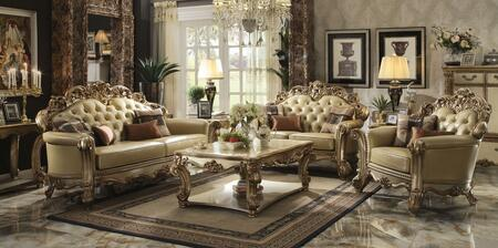 Vendome Collection 53000SLCT 6 PC Living Room Set with Sofa + Loveseat + Chair + Coffee Table + 2 End Tables in Gold Patina