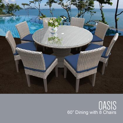 Oasis-60-kit-8c-navy Oasis 60 Inch Outdoor Patio Dining Table With 8 Armless Chairs With 2 Covers: Grey And