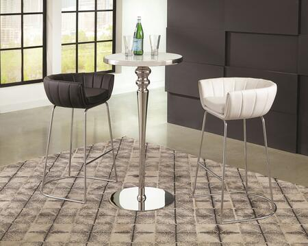 Dixon Collection 182031BWS 3 PC Bar Table Set with Bar Table + White Bar Stool + Black Bar Stool in Polished Stainless