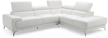 SR1467LSWHT Fabiola Sectional  Chaise On Right When Facing  White Top Grain Italian Leather  Adjustable Headrests  Stainless Steel