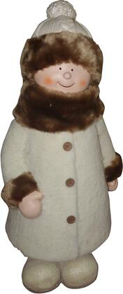 QWR586 29 Girl with White/Brown Coat and Hat Standing