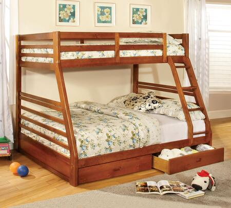 California III Collection CM-BK588A-BED Twin Over Full Size Bunk Bed with 2 Drawers  10 PC Slats Top/Bottom  Front Access Fixed Ladder  Solid Wood and Wood