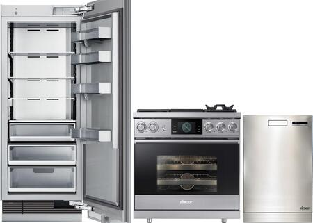 3-Piece Stainless Steel Kitchen Package with DRR24980RAP 24 inch  All Refrigerator  DOP36M94DHS 36 inch  Freestanding Dual Fuel Range  and DDW24M999US 24 inch  Fully
