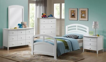 San Marino 19150TDMCN 5 PC Bedroom Set with Twin Bed + Dresser + Mirror + Chest + Nightstand in White