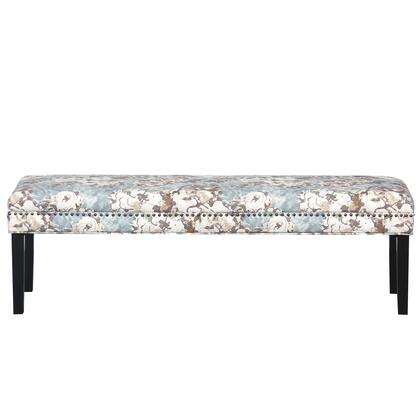 DS8632400493 Primrose Sky Floral Bed Bench With Nail Head Trim In