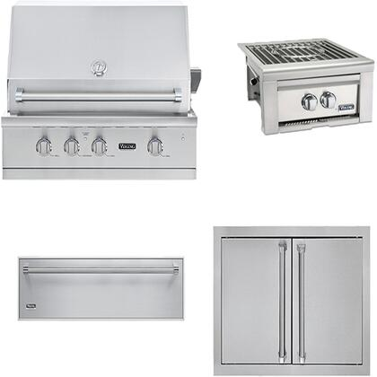 4-Piece Stainless Steel Outdoor Kitchen Package with VGBQ53024NSS 30 inch  Natural Gas Grill  VQGPB5200NSS 24 inch  Side Burner  AD52820SS 32 inch  Double Access Door  and