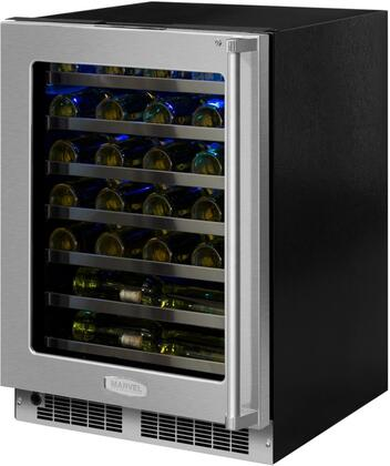 Marvel MP24WS5L 24 Wide 48-Bottle Built-In Single Zone Wine Cooler with LED Lig, Stainless Frame Glass Door