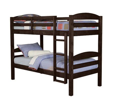 BWSTOTES Solid Wood Twin over Twin Bunk Bed with Full Length Guardrails and Integrated Ladder in