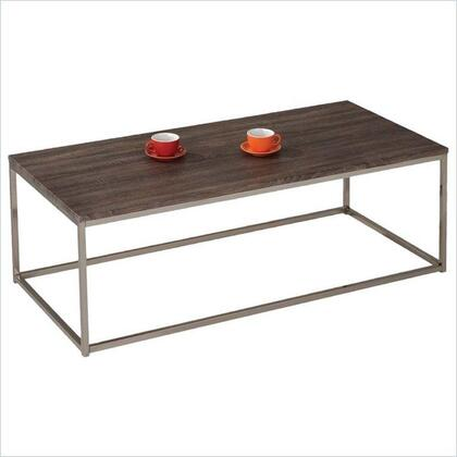 Cecil Collection 81498 52 inch  Coffee Table with Rectangular Shape  PVC Veneer Top and Metal Base in Walnut and Brushed Nickel