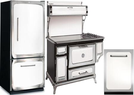 3-Piece White Kitchen Package with 301500RWHT 30 inch  Bottom Freezer Refrigerator  6210CD0WHT 48 inch  Freestanding Electric Range  and HCDWI1WHT 24 inch  Fully Integrated