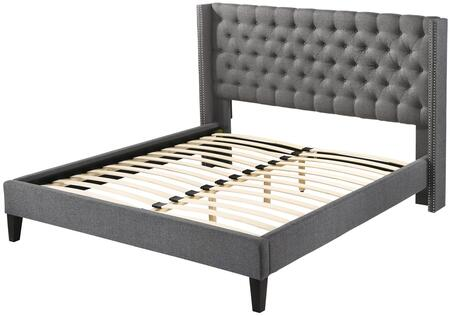 Pacifica ALT-Q6512-GRY Queen Platform Bed with Nail Head Accents  Button Tufting and Fabric Upholstery in