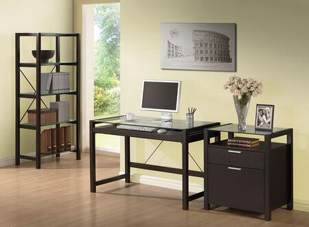Loakim 92052SET 3 PC Home Office Set with Computer Desk + File Cabinet + Bookcase in Wenge