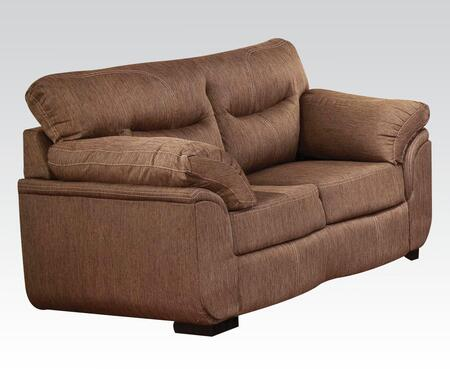 Avalon Collection 51691 69 inch  Loveseat with Tight Cushions  Wood-Like Legs  Wood Frame  Plush Padded Arms and Linen Upholstery in Cocoa