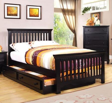 Caspian Collection CM7920BK-T-BED-TRUNDLE Twin Size Bed with Trundle  Slatted Style Headboard and Footboard  Rectangular Shape and Solid Wood Construction in