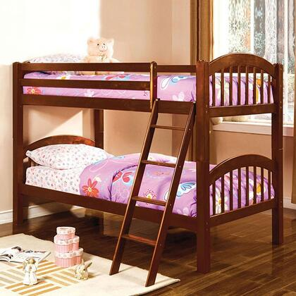 Coney Island Collection CM-BK524-CH-BED Twin Size Bunk Bed with Picket Fence Design  Front Access Fixed Ladder  Solid Wood and Wood Veneer Construction in