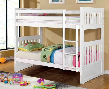 Canberra II Collection CM-BK607T-WH-BED Twin Size Bunk Bed with Built-In Angled Ladder  Top and Bottom Slats  Solid Wood and Wood Veneers Construction in White