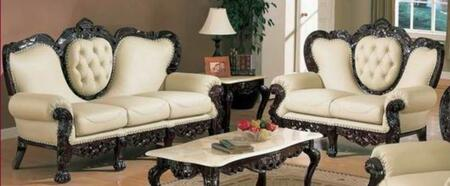 701IVORY2SET Two Piece Traditional Livingroom Set  Sofa + Loveseat with Genuine Leather Upholstery in