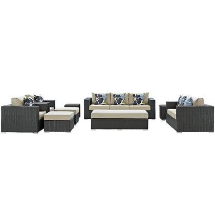 Sojourn Collection EEI-2377-CHC-BEI-SET 9-Piece Outdoor Patio Sunbrella Sectional Set with Loveseat  Rectangle Ottoman  Sofa  2 Armchairs  2 Ottomans and 2