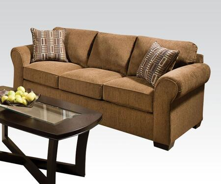Torilyn Collection 51235 86 inch  Sofa with Made in USA  Pillow Included  Wood Frame  Tight Back Cushions  Loose Seat Cushions and Fabric Upholstery in Lola Walnut