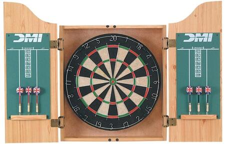 CABSETPL Deluxe Dartboard Light Oak Finish Cabinet Set With Chalk Scoreboards  Official 18 inch x1.5 inch  Bristle Dartboard  and Two Sets of Steel Tip