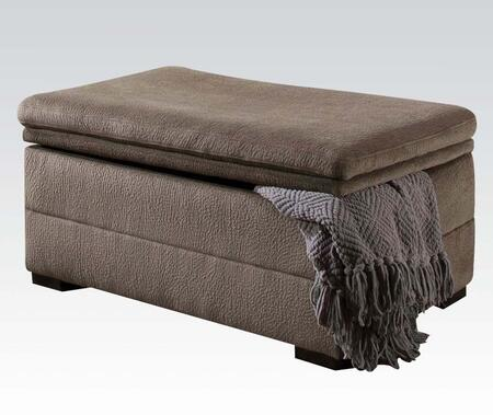 51023 Devyn Storage Ottoman with Wooden Frame  Made in USA  Blocked Feet and Fabric Upholstery in Nimbus Seal
