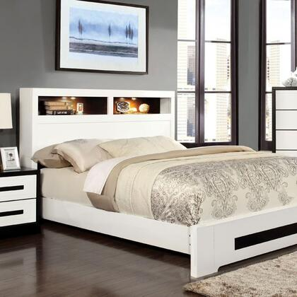 Rutger Collection CM7297F-BED Full Size Platform Bed with LED Lights Trim on Headboard  Grey Leatherette Headboard and High Gloss Lacquer Coating in White