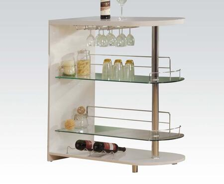 Yashvin Collection 71315 42 inch  Bar Table with 8mm Clear Tempered Glass Shelves  Stemware Racks  Wine Bottle Rack and Chrome Metal Tube in White and Chrome