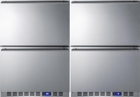 """Stainless Steel Undercounter Refrigerator/Freezer Drawer Pair with FF642D 24"""" Drawer Refrigerator and SCFF532D 24"""" Drawer"""