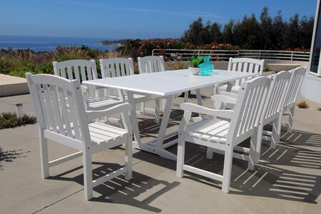V1334SET16 Bradley Outdoor 9-Piece Wood Patio Dining Set With Extension Table In