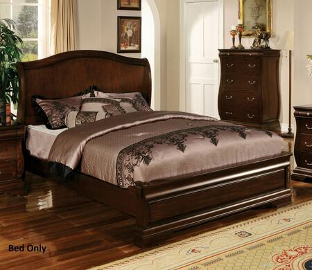 Brunswick Collection CM7503EK-BED Eastern King Size Platform Bed with Bracket Feet  Slat Kit Included  Solid Wood and Wood Veneers Construction in Dark Walnut